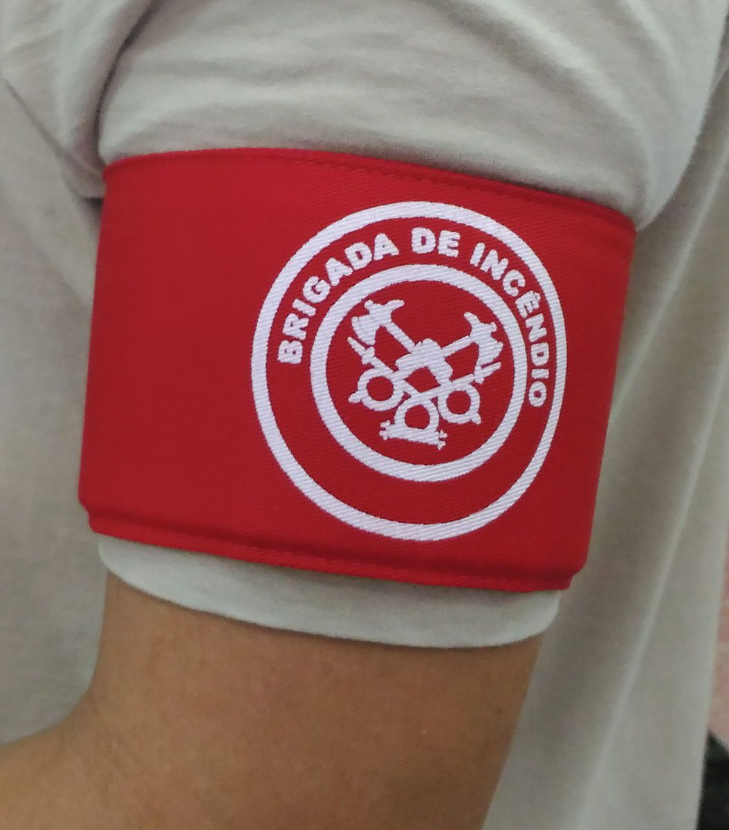 Braçadeira em brim, modelo Brigada de Incêndio, estampada  - CONEXÃO EPI´S E UNIFORMES PROFISSIONAIS