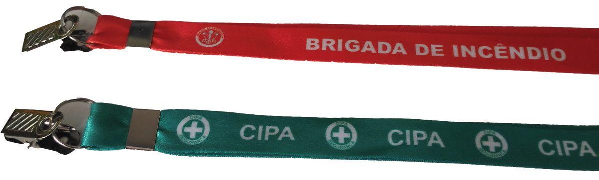 Cordão Porta Crachá, modelo Brigada ou CIPA, com trava e presilha  - CONEXÃO EPI´S E UNIFORMES PROFISSIONAIS