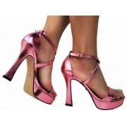 Sandalia meia pata metal. rosa salto 11cm   Cód.: 874