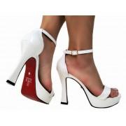 Sandalia meia pata vz branco salto 11cm   Cód.: 864