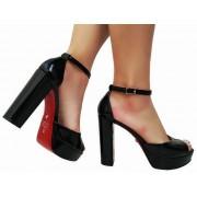 Sandalia meia pata vz preto salto 11cm   Cód.: 866