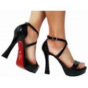 Sandalia meia pata vz preto salto 11cm   Cód.: 872