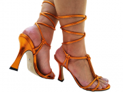 Sandália metalizado laranja 9cm Cód.773