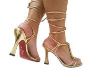 Sandália metalizado ouro 9cm Cód.774