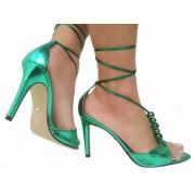 Sandália metalizado verde 9cm Cód.803