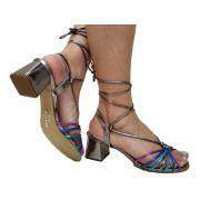 Sandália pewter colorido salto 5cm Cód.612