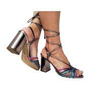 Sandália pewter colorido salto 9cm Cód.614