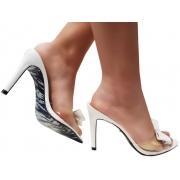 Sandália/Tamanco verniz branco 9cm Cód.1307