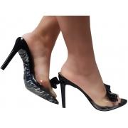 Sandália/tamanco verniz preto 9cm Cód.1306
