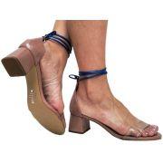Sandália vz nude cordão azul 5cm Cód.645