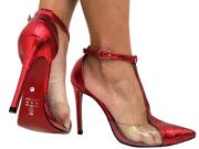 Scarpin croco met. vermelho com vinil  11cm Cód.715