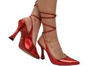 Scarpin metalizado vermelho salto 9cm Cód.: 749
