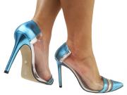Scarpin napa met azul vinil metal. prata. 11cm  Cód.: 795