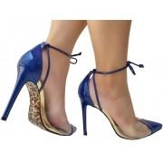 Scarpin verniz azul salto 11cm Cód.1000