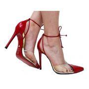 Scarpin verniz vermelho salto 11cm Cód.496