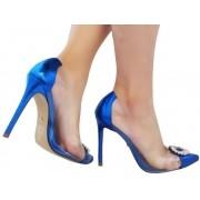 Scarpin vinil metalizado azul salto 11cm Cód.: 1004
