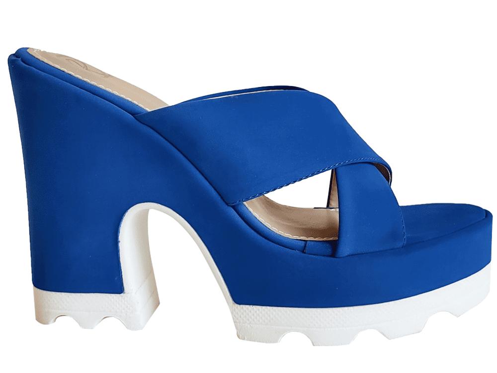 Anabela nobuck azul salto 12cm Cód.1043