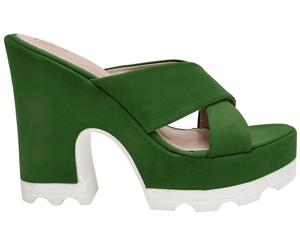 Anabela nobuck verde salto 12cm Cód.981