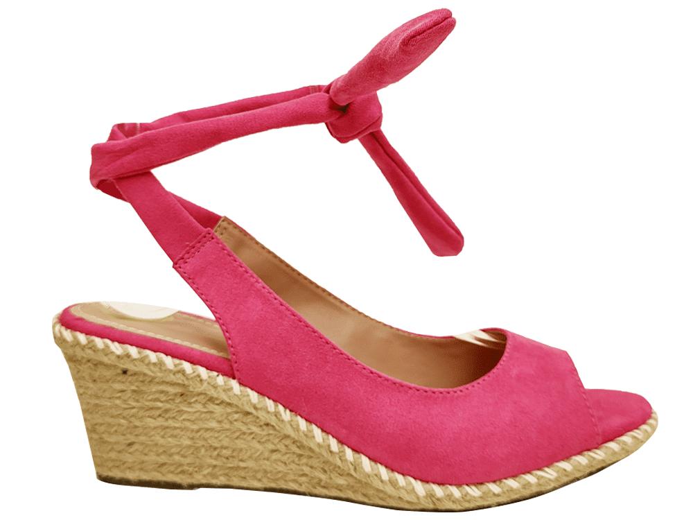 Anabela suede pink salto 7cm Cód.935