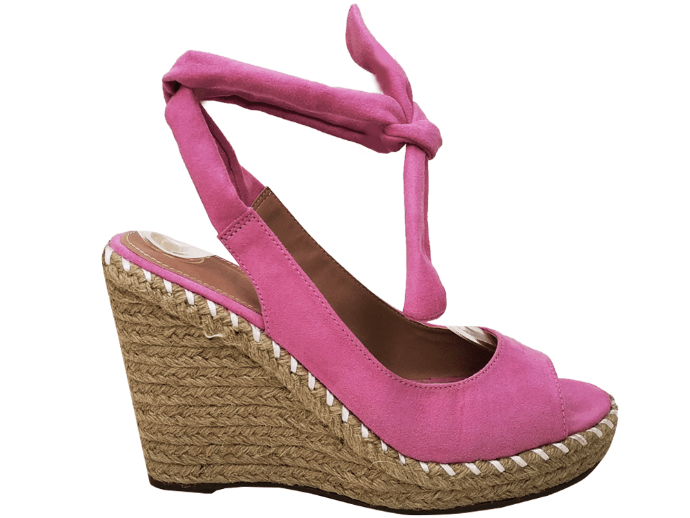 Anabela suede rosa salto 11cm Cód.891