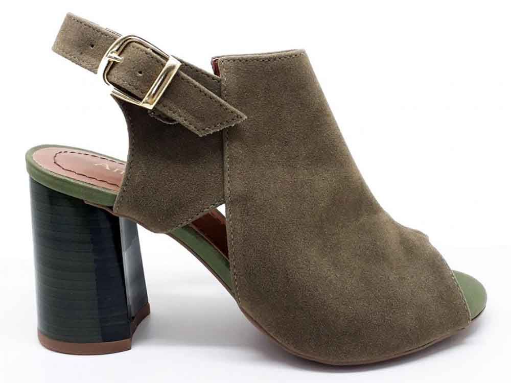 Ankle boot camurça verde musgo salto 9cm Cód.: 187