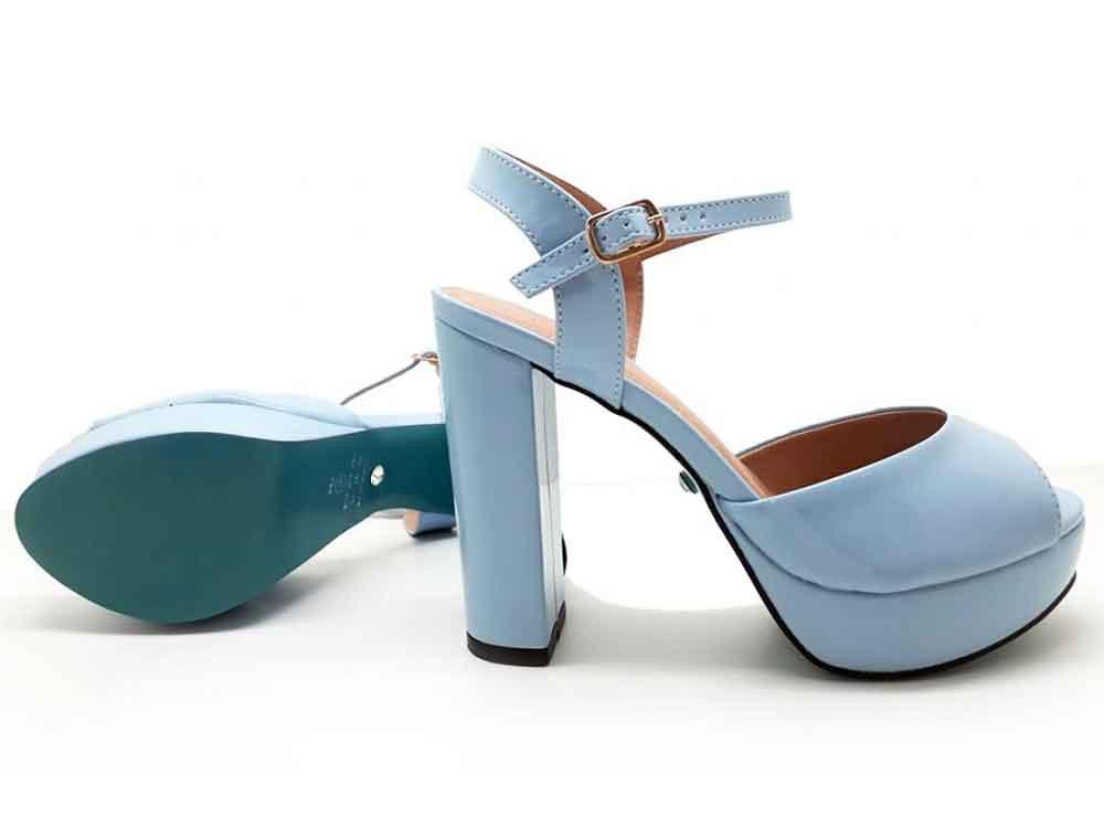Meia pata verniz azul claro salto 11cm Cod.006