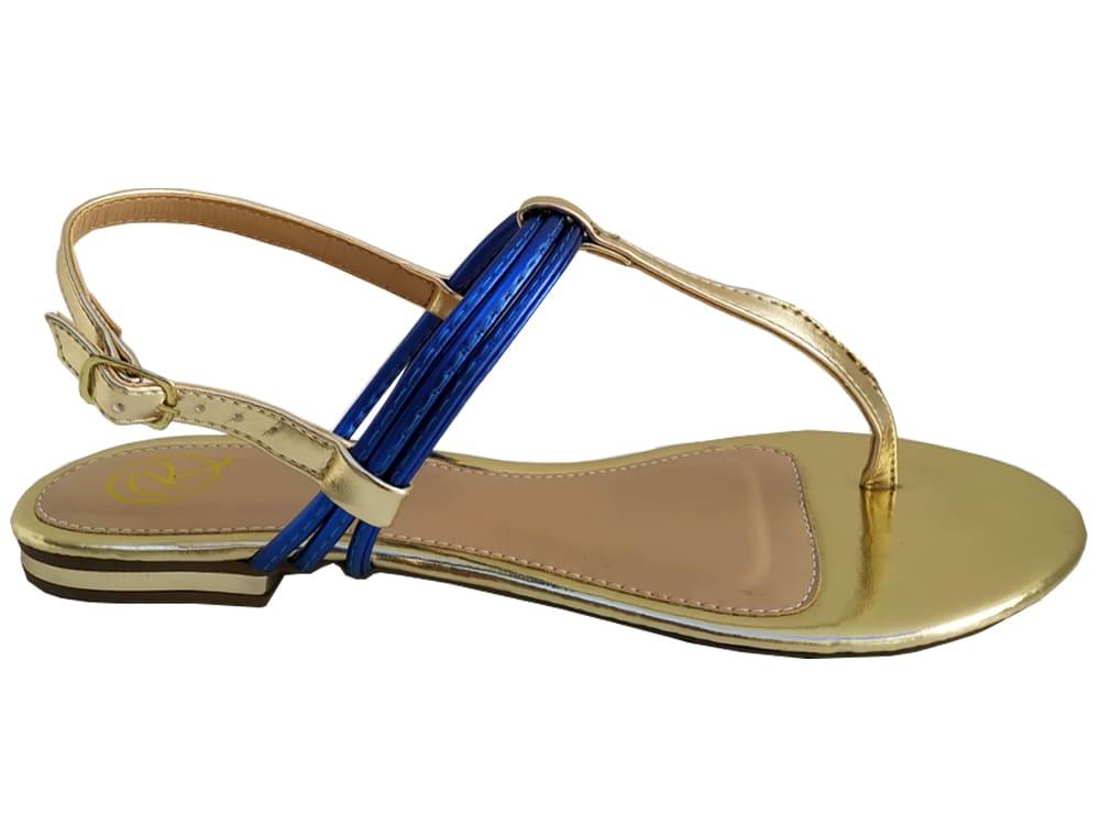 Rasteira met. ouro / azul Cód.763