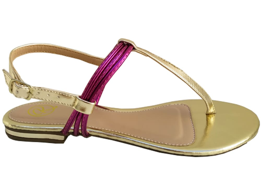 Rasteira met. ouro / pink Cód.765