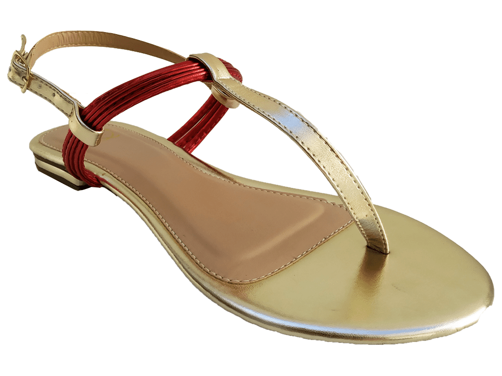 Rasteira met. ouro / vermelho Cód.764