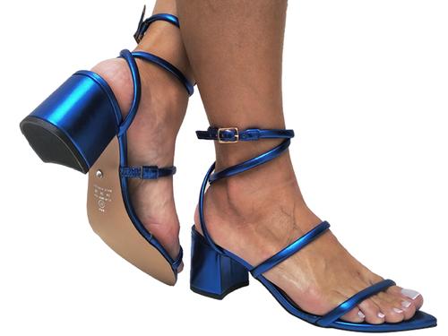 Sandália bf croco azul 5cm Cód.693