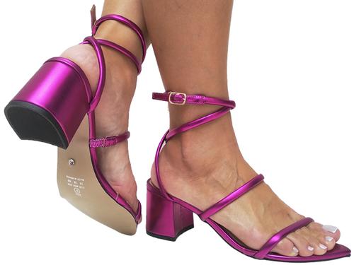 Sandália bf croco pink 5cm Cód.694