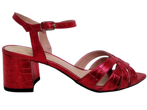 Sandália bf croco vermelho 5cm Cód.683