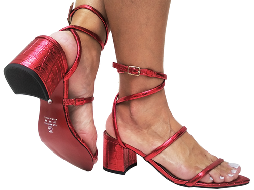 Sandália bf croco vermelho 5cm Cód.692