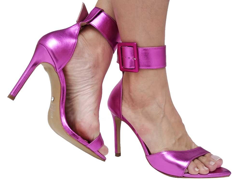 Sandália BF Fivela Metalizado pink 10cm Cód.656