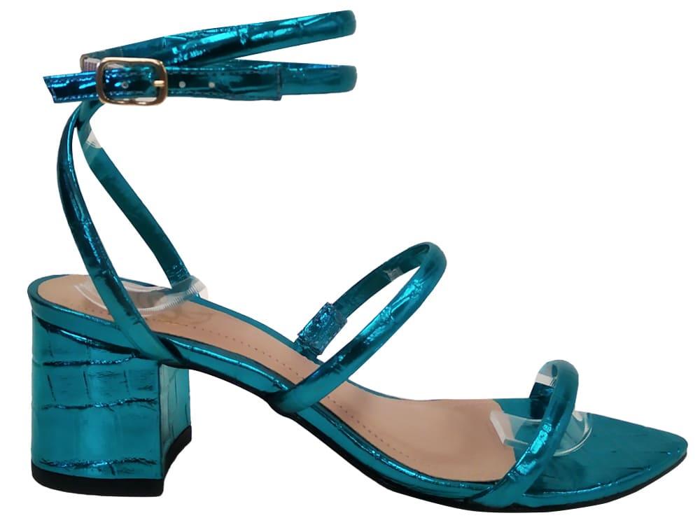 Sandália bf met. azul 5cm Cód.1136