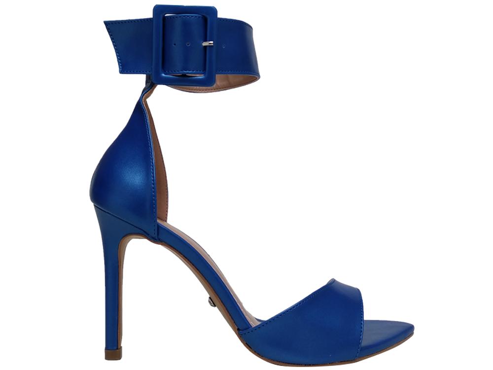 Sandália BF Metalizado azul 10cm Cód.662