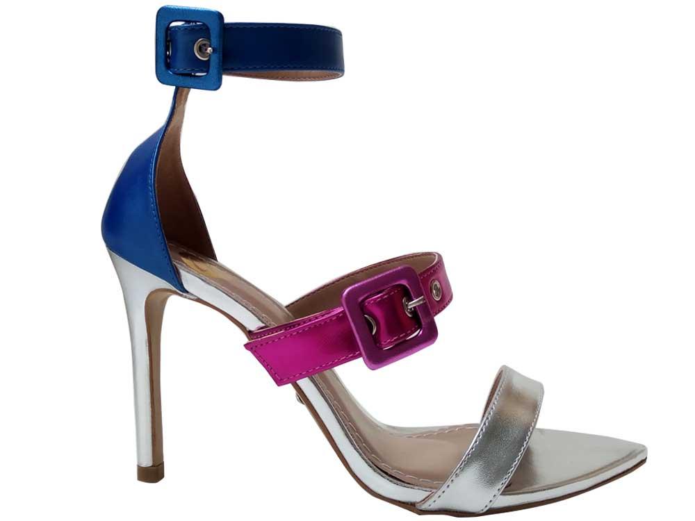 Sandália BF metalizado Prata Azul Pink 10cm Cód.653