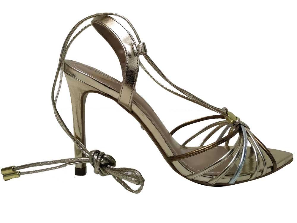 Sandália bico folha de amarrar ouro Cobre 10cm Cód.607