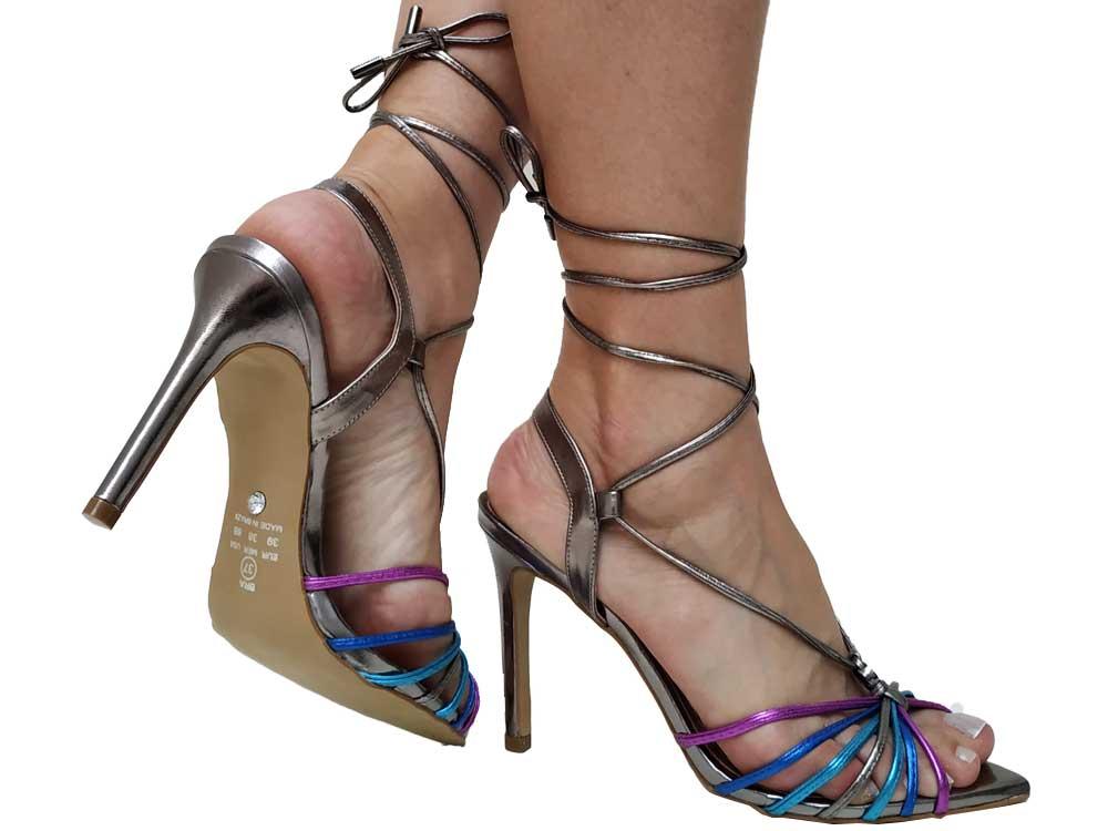 Sandália  de amarrar bico folha pewter colorido 10cm Cód.608