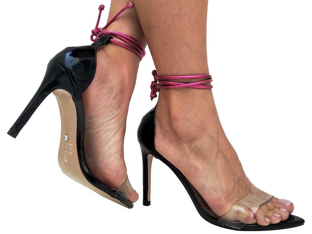 Sandália BF verniz preto cordão pink 10cm Cód.647