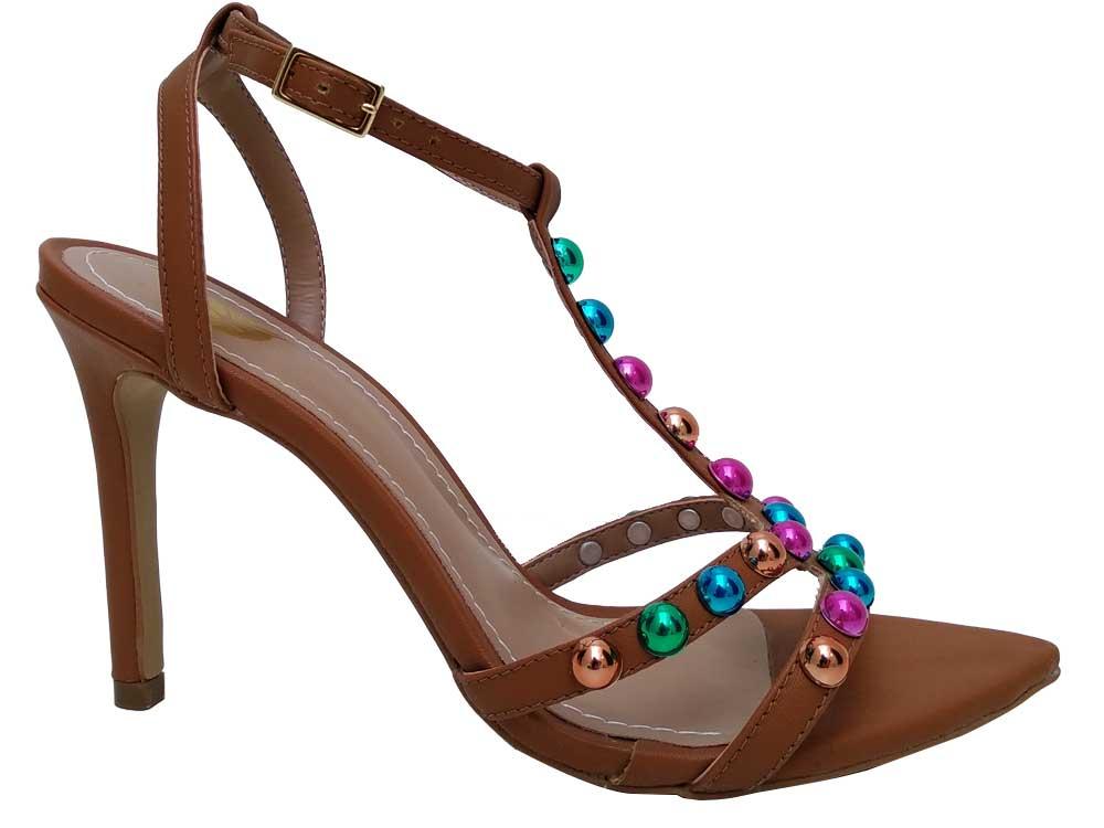 Sandália bico folha caramelo colorido 10cm Cód.619