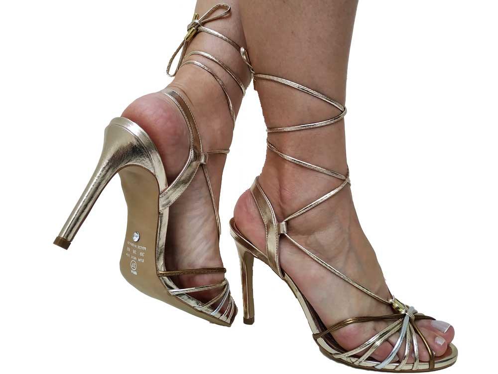 Sandália BR ouro cobre 10cm Cód.610