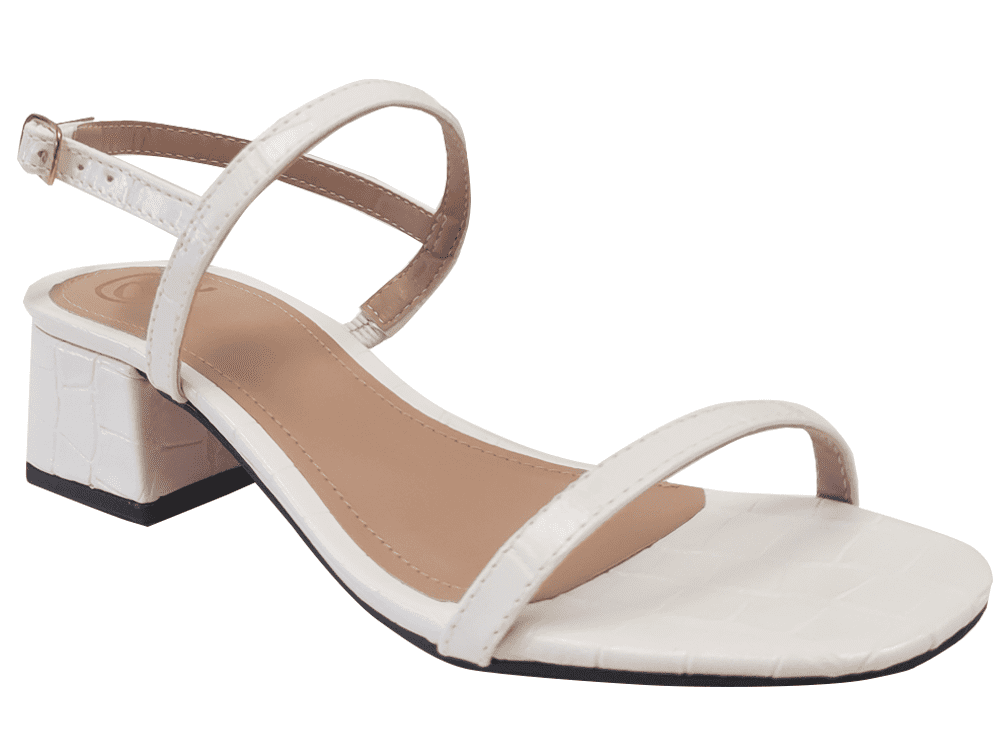 Sandália croco branco 5cm Cód.1227