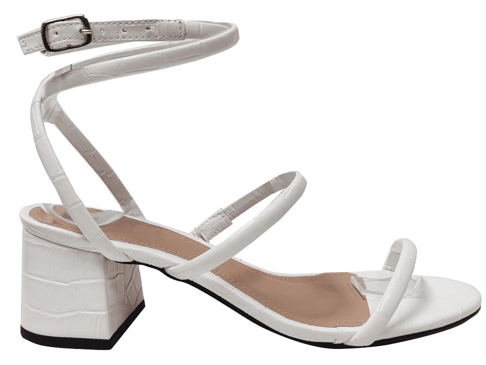 Sandália croco branco 5cm Cód.1291