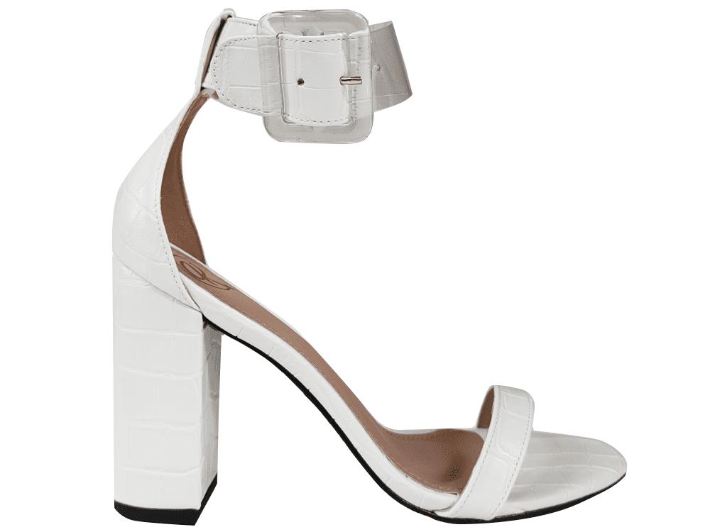 Sandália croco branco 9cm Cód.1312