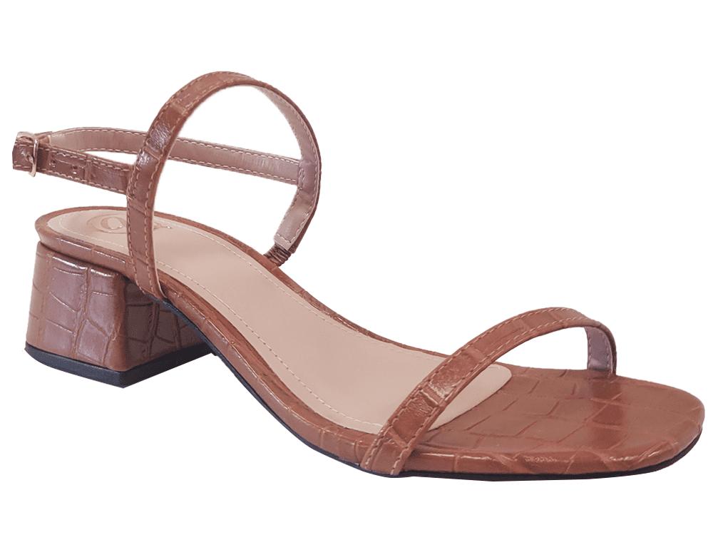 Sandália croco caramelo 5cm Cód.1226