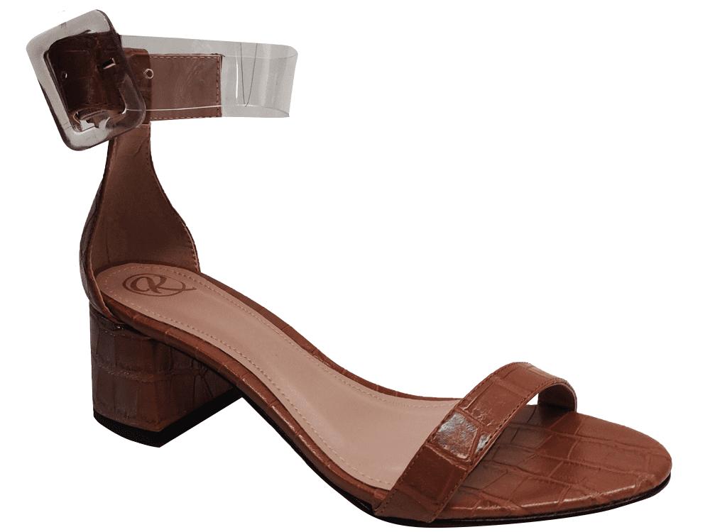 Sandália croco caramelo 5cm Cód.1278