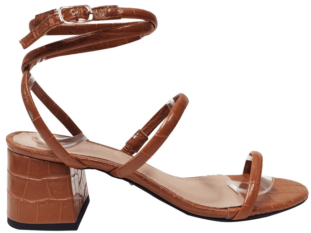 Sandália croco caramelo 5cm Cód.1292