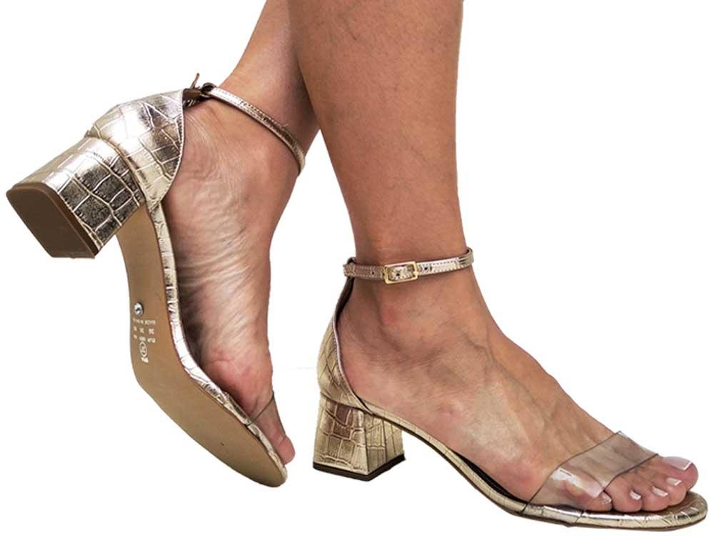 Sandália croco met. ouro cordão ouro 5cm Cód.646
