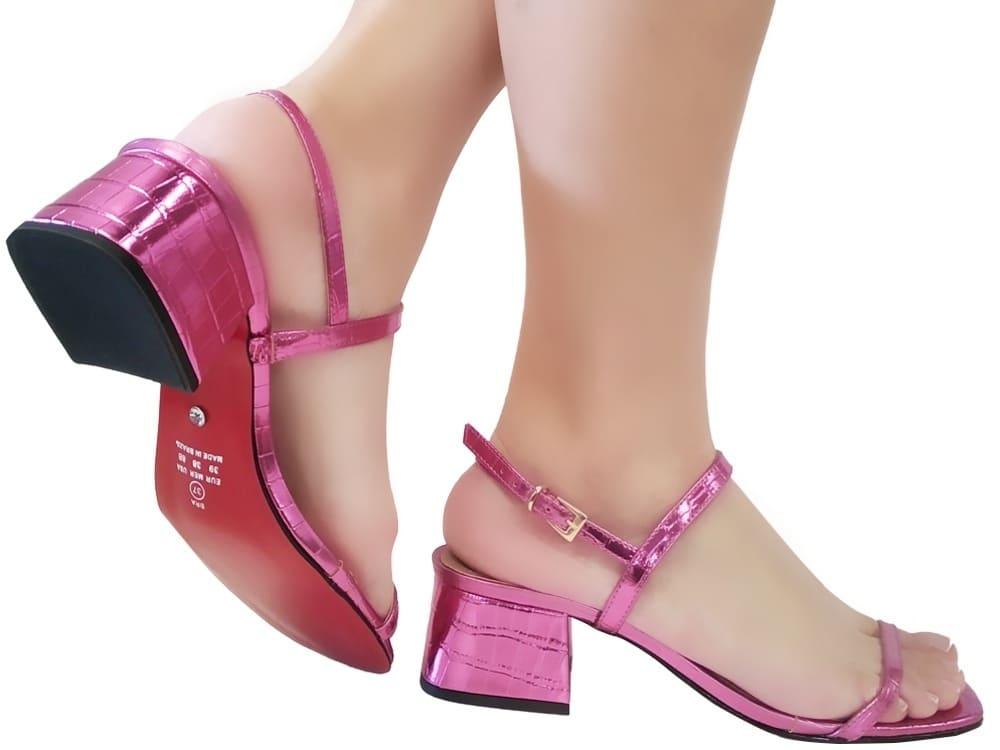 Sandália croco met. pink 5cm Cód.1101